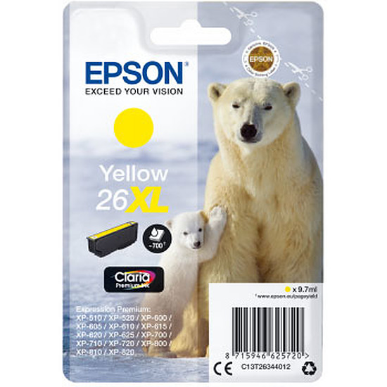 Cartouche imprimante Epson Jaune 26XL
