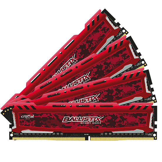 Mémoire Ballistix Sport LT RED DDR4 4 x 4 Go 2400 MHz DR
