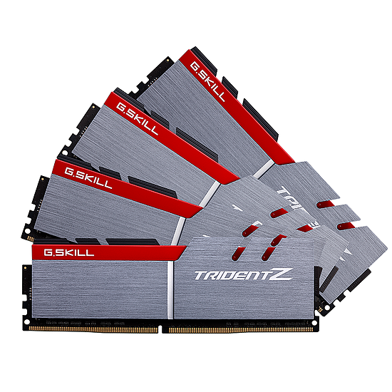 Mémoire G.Skill Trident Z Silver / Red DDR4 4 x 16 Go 3200 MHz CL16
