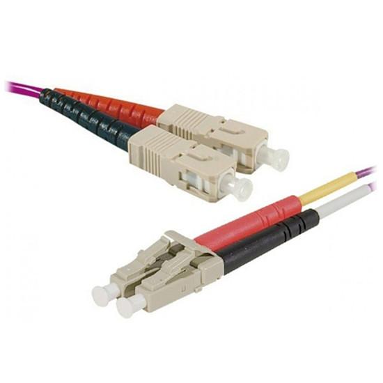 Câble fibre Optique Jarretière optique duplex multimode 2mm OM4 LC-UPC/LC-UPC (1 mètre)