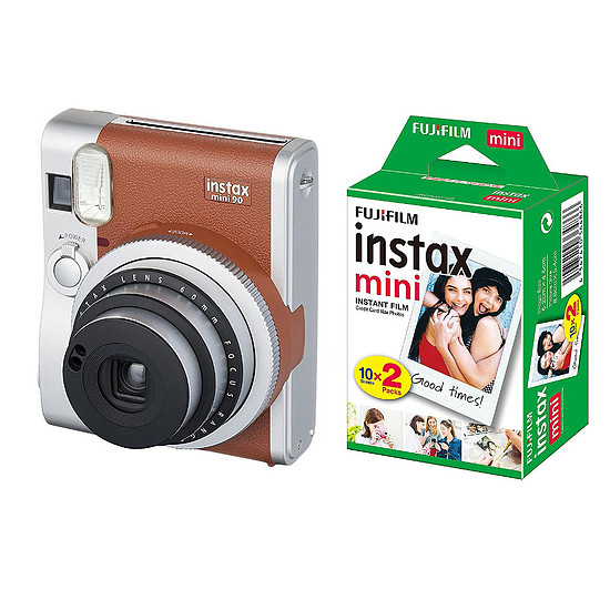 Appareil photo compact ou bridge Fujifilm Instax MINI 90 Neo Classic Marron + Film Instax Mini Bipack