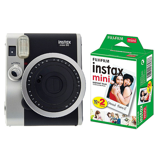 Appareil photo compact ou bridge Fujifilm Instax MINI 90 Neo Classic Noir + Film Instax Mini Bipack