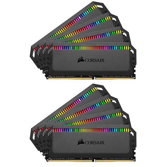 Mémoire Corsair Dominator Platinum RGB 128 Go (8 x 16 Go) DDR4 3200 MHz CL16 Black