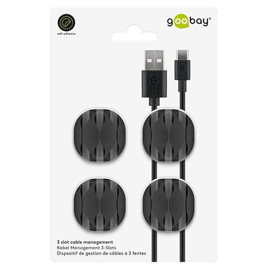 Passe câble et serre câble Goobay 6 Slot Cable Management Mini - Noir - Autre vue
