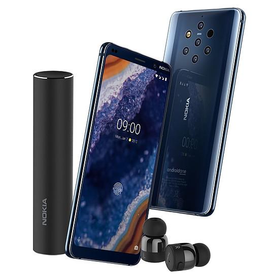 Smartphone et téléphone mobile Nokia 9 PureView (bleu) - 128 Go - 6 Go + Nokia True Wireless Earbuds (noir)
