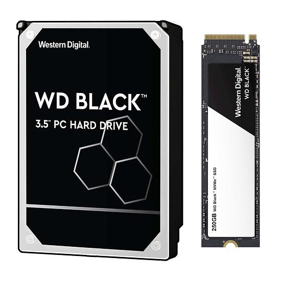Disque dur interne Western Digital Black Pack - WD Black - 1 To - 64 Mo + WD Black NVMe SSD - 250 Go