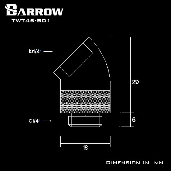 Watercooling BARROW TWT45-B01 - Embout rotatif à 45° mâle vers femelle - Blanc - Autre vue