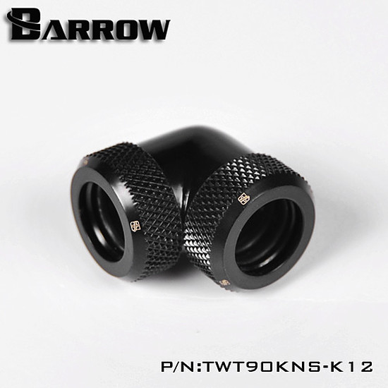 Watercooling BARROW TWT90KNS-K12 - Embout à 90° pour tube rigide 12mm - Noir