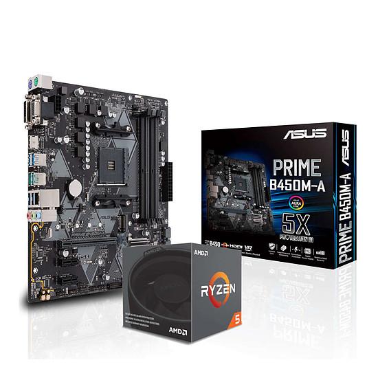 Kit d'évolution PC AMD Ryzen 5 2600X + Asus Prime B450M-A