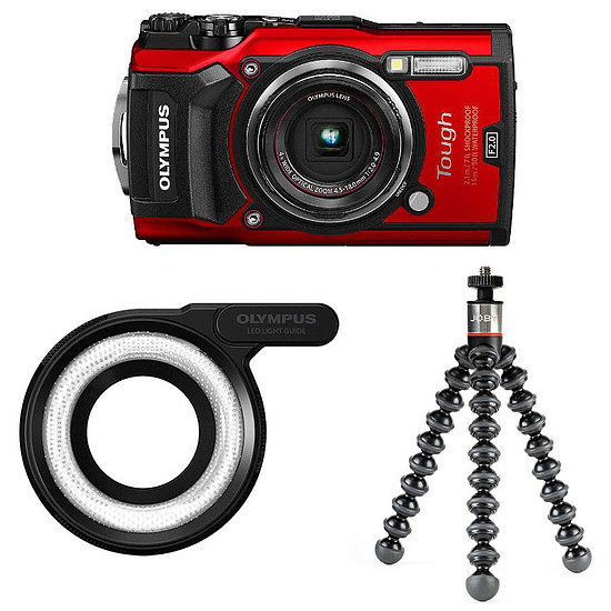 Appareil photo compact ou bridge Olympus Tough TG-5 Rouge + LG-1 + Joby GorillaPod 325