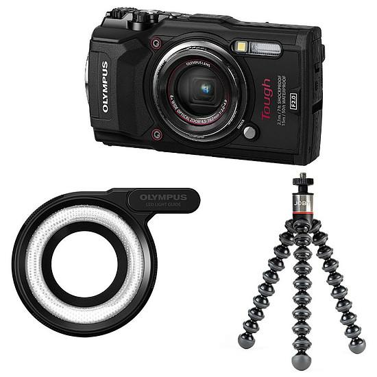 Appareil photo compact ou bridge Olympus Tough TG-5 Noir + LG-1 + Joby GorillaPod 325