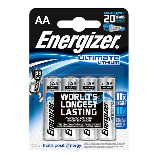 Pile et chargeur Energizer Ultimate Lithium AA (par 4)