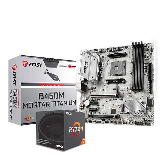Kit d'évolution PC AMD Ryzen 7 2700 + MSI B450M MORTAR TITANIUM