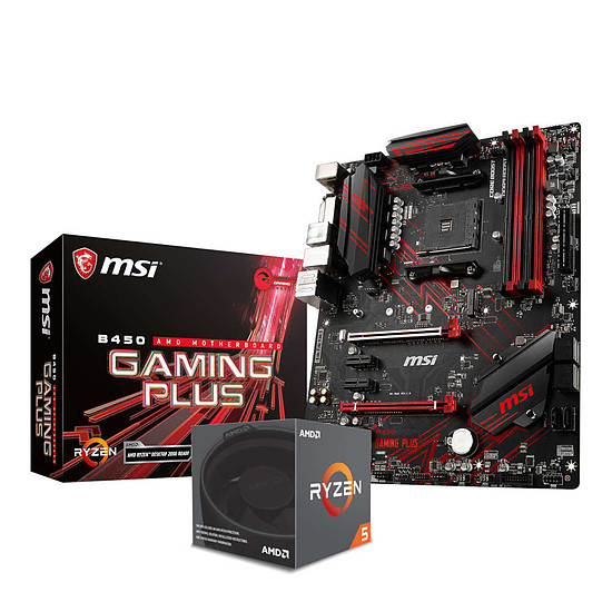 Kit d'évolution PC AMD Ryzen 5 2600X + MSI B450 Gaming Plus