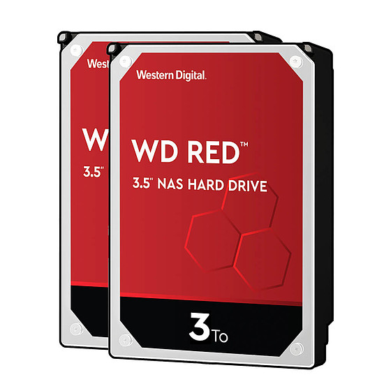 Disque dur interne Western Digital WD Red - 3 To - 64 Mo - Pack de 2
