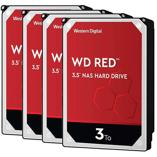 Disque dur interne Western Digital WD Red - 3 To - 64 Mo - Pack de 4