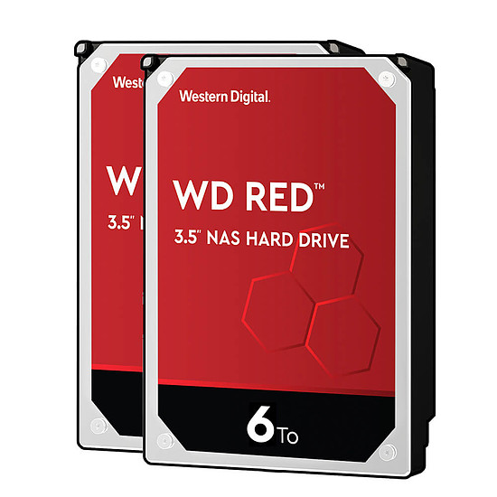 Disque dur interne Western Digital WD Red - 6 To - 64 Mo - Pack de 2