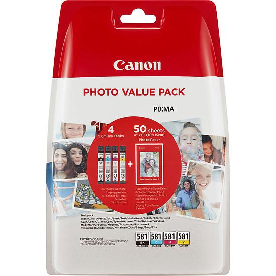 Cartouche d'encre Canon CLI-581 BK/C/M/Y + papier photo Canon