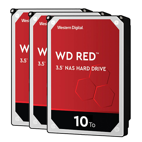 Disque dur interne Western Digital WD Red - 10 To - 256 Mo - Pack de 3