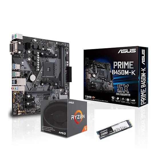 Kit upgrade PC AMD Ryzen 5 2600 + Asus Prime B450M-K + Kingston A1000 240 Go