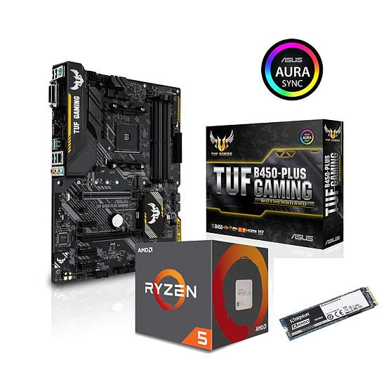 Kit upgrade PC AMD Ryzen 5 2600X + Asus TUF B450-PLUS GAMING + Kingston A1000 480 Go