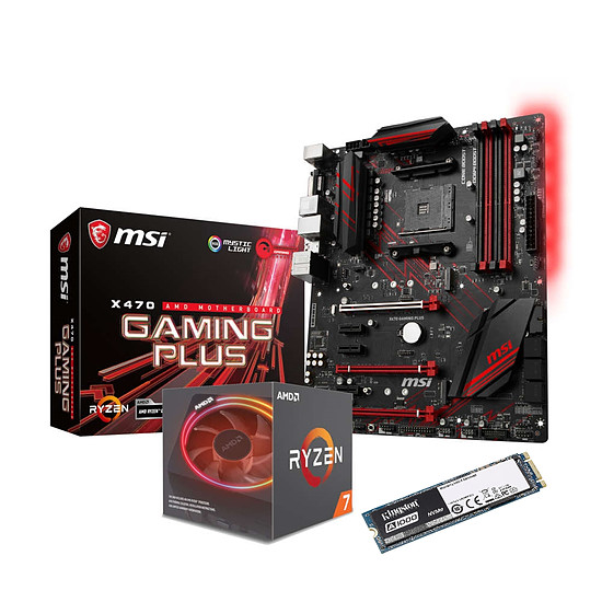 Kit upgrade PC AMD Ryzen 7 2700X + MSI X470 Gaming Plus + Kingston A1000 480 Go