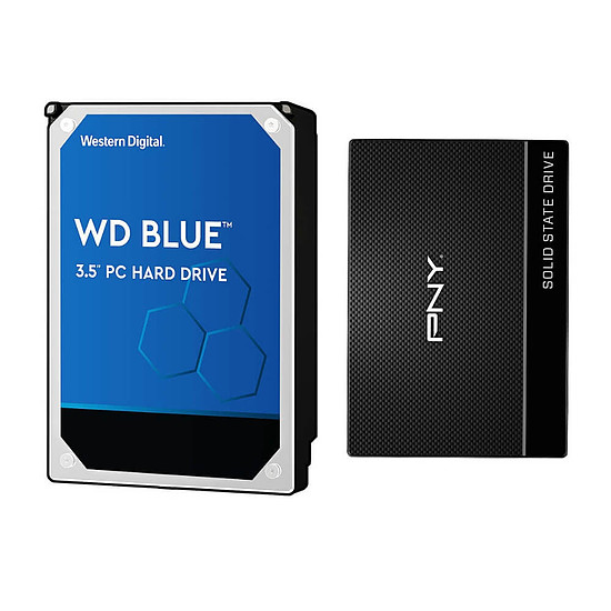 Disque dur interne Western Digital WD Blue - 3 To - 64 Mo + PNY CS900 - 480 Go