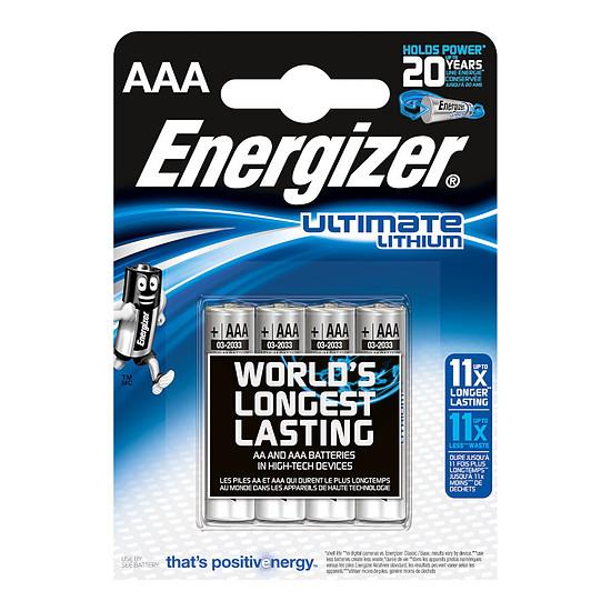 Pile et chargeur Energizer Ultimate Lithium AAA (par 4)