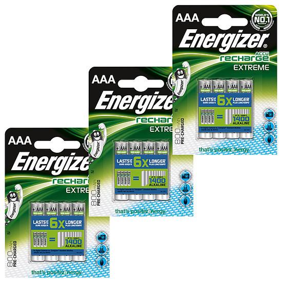 Pile et chargeur Energizer Accu Recharge Extreme AAA 800 mAh (par 12)