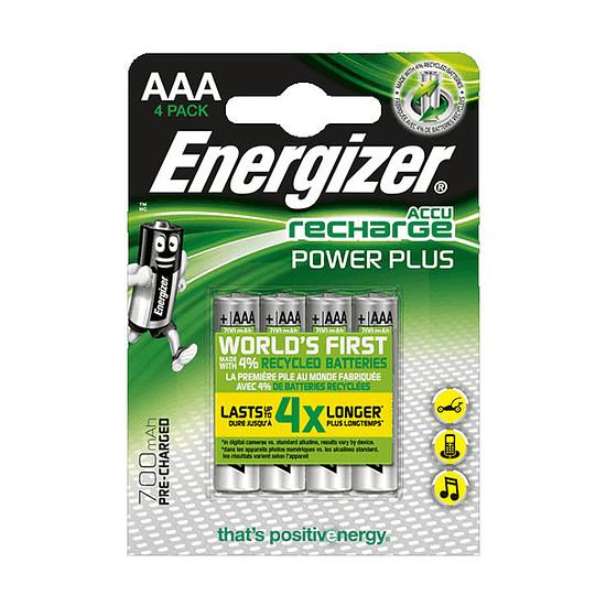Pile et chargeur Energizer Recharge Power Plus AAA (par 4)