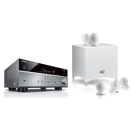 Ensemble Home-Cinéma Yamaha RX-V685 Titane + Pack 5.1 Cabasse Alcyone 2 Blanc