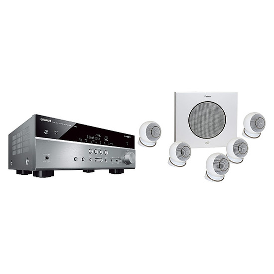 Ensemble Home-Cinéma Yamaha RX-V485 Titane + Cabasse Eole 4 Blanc
