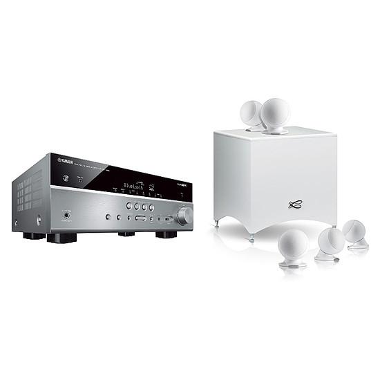 Ensemble Home-Cinéma Yamaha RX-V485 Titane + Pack 5.1 Cabasse Alcyone 2 Blanc