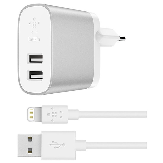 Chargeur Belkin Chargeur secteur Boost Charge (gris) + câble Lightning (blanc) - USB-A - 24 W