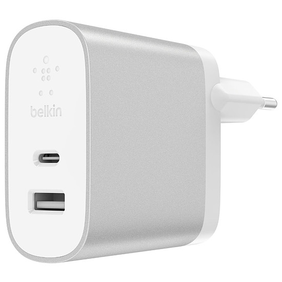 Chargeur Belkin Chargeur secteur 2 ports Boost Charge (gris) - USB-C / USB-A - 27W + 12W