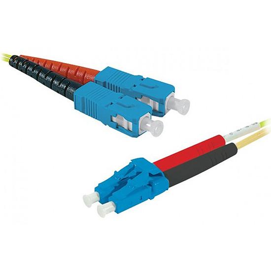 Câble fibre Optique Jarretière optique duplex monomode 2mm OS2 SC-UPC/LC-UPC (2 mètres)