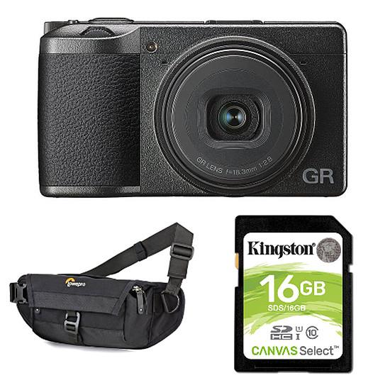 Appareil photo compact ou bridge Ricoh GR III + Carte SD Kingston 16 GO + Lowepro m-Trekker HP 120 Noir