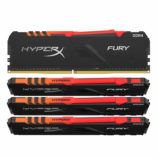 Mémoire HyperX Fury RGB - 4 x 16 Go (64 Go) - DDR4 2400 MHz - CL15