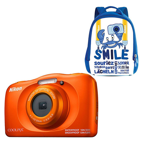 Appareil photo compact ou bridge Nikon Coolpix W150 Orange + Sac à dos