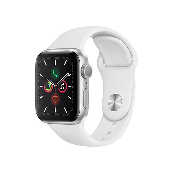 Montre connectée Apple Watch Series 5 Aluminium (Argent - Bracelet Sport Blanc) - GPS - 40 mm