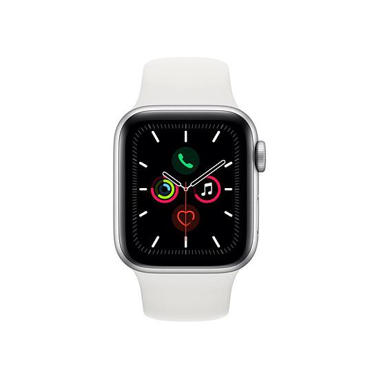 Montre connectée Apple Watch Series 5 Aluminium (Argent - Bracelet Sport Blanc) - GPS - 40 mm - Autre vue