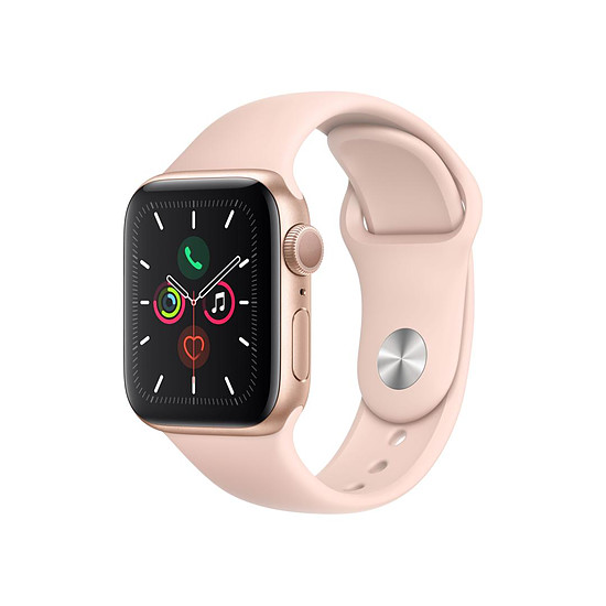 Montre connectée Apple Watch Series 5 Aluminium (Or - Bracelet Rose des Sables) - GPS - 40 mm