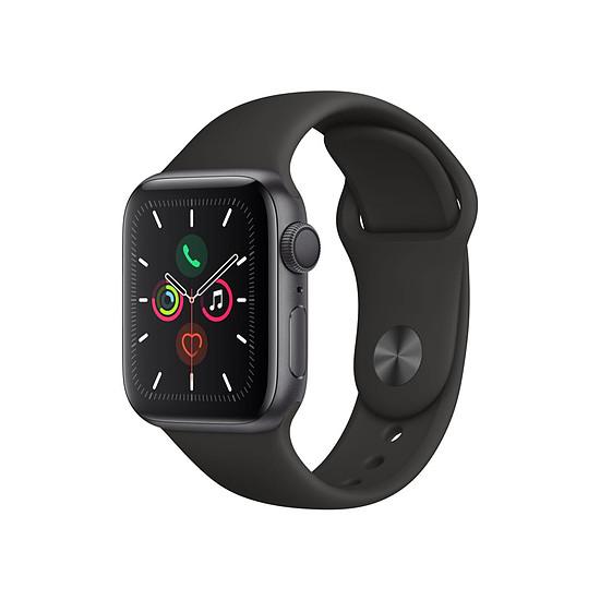 Montre connectée Apple Watch Series 5 Aluminium (Gris - Bracelet Sport Noir) - GPS - 40 mm