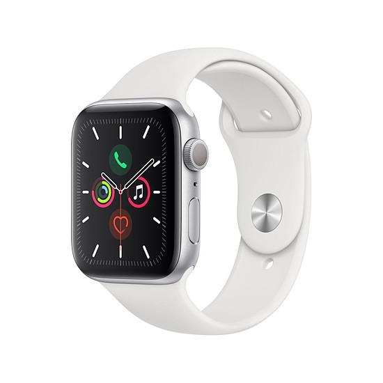 Montre connectée Apple Watch Series 5 Aluminium (Argent - Bracelet Sport Blanc) - GPS - 44 mm
