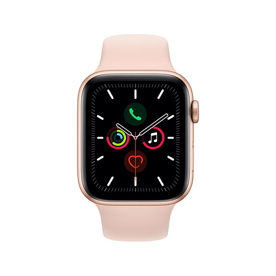 Montre connectée Apple Watch Series 5 Aluminium (Or - Bracelet Rose des Sables) - GPS - 44 mm - Autre vue