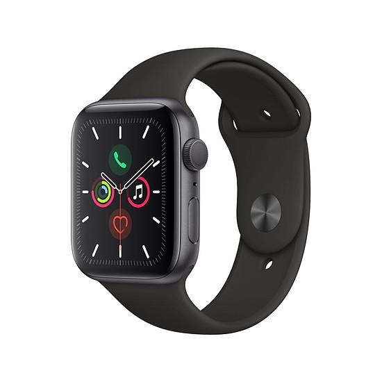 Montre connectée Apple Watch Series 5 Aluminium (Gris - Bracelet Sport Noir) - GPS - 44 mm