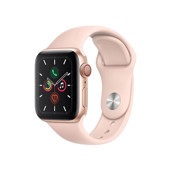 Montre connectée Apple Watch Series 5 Aluminium (Or- Bracelet Sport Rose des Sables) - Cellular - 40 mm