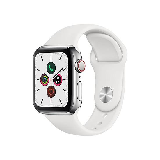 Montre connectée Apple Watch Series 5 Acier (Argent - Bracelet Sport Blanc) - Cellular - 40 mm