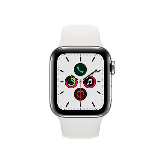 Montre connectée Apple Watch Series 5 Acier (Argent - Bracelet Sport Blanc) - Cellular - 40 mm - Autre vue