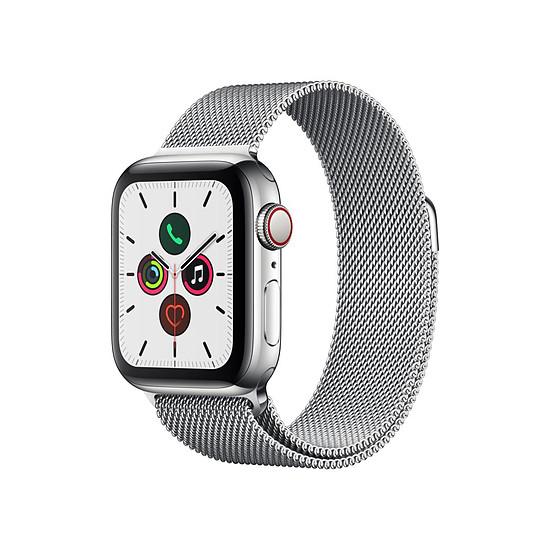 Montre connectée Apple Watch Series 5 Acier (Argent - Bracelet Milanais Argent) - Cellular - 40 mm